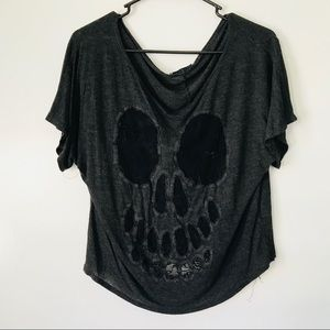 Lace skull cutout off the shoulder top